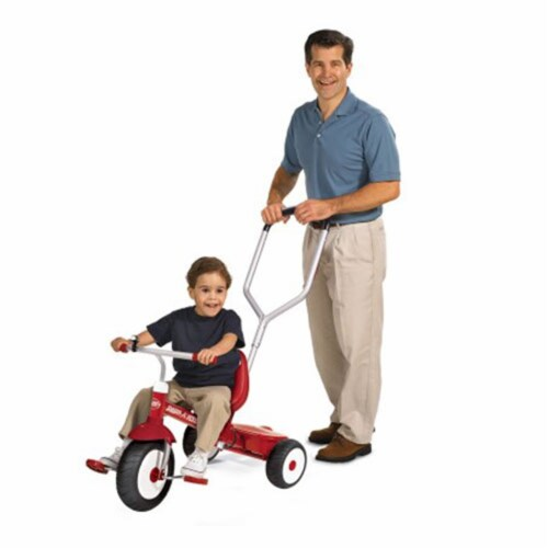 Radio Flyer Deluxe Steer and Stroll Kids Outdoor Recreation Bike Tricycle, Red Perspective: back