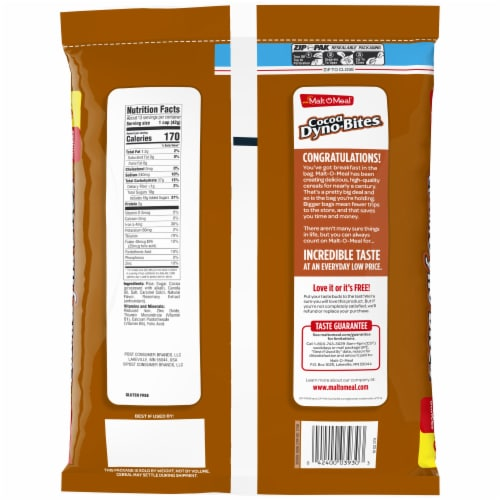 Malt-O-Meal Cocoa Dyno-Bites Cereal Zip-Pak Perspective: back