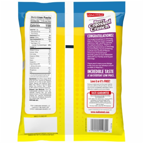 Malt-O-Meal Berry Colossal Crunch Cereal Perspective: back