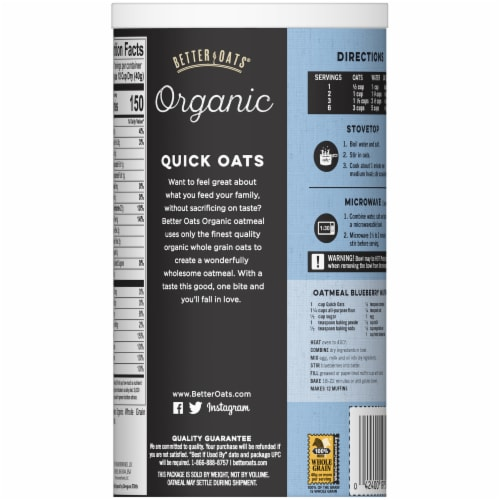 Better Oats Organic Whole Grain Quick Oats Perspective: back