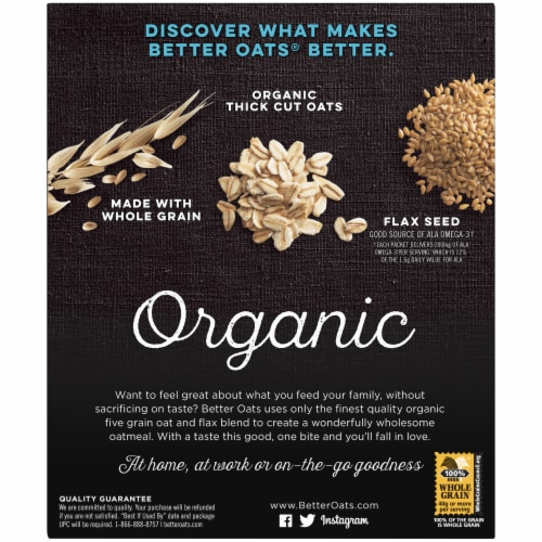 Better Oats Organic Bare Instant Multigrain Hot Cereal 8 Count Perspective: back