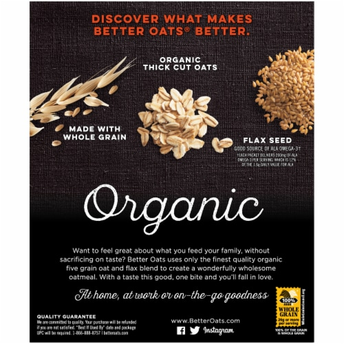 Better Oats Organic Maple & Brown Sugar Instant Multigrain Hot Cereal with Flax Perspective: back