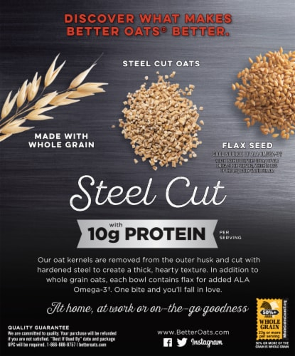 Better Oats® Maple & Brown Sugar Instant Oatmeal with Protein & Flax Seeds Perspective: back