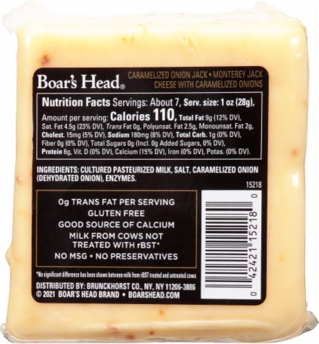 Boar's Head  Pre-Cut Caramelized Onion Monterey Jack Cheese Perspective: back