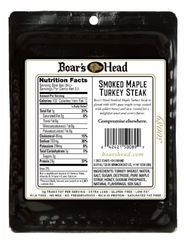 Boar's Head Smoked Maple Turkey Steak Perspective: back