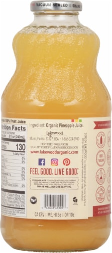 Lakewood Organic Pure Pineapple Juice Perspective: back