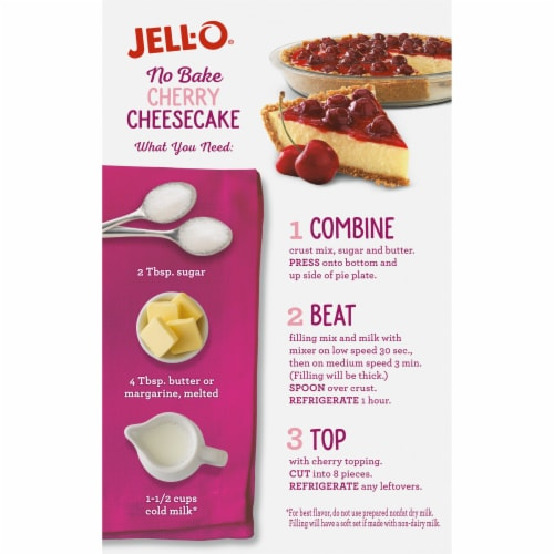 Jell-O No Bake Cherry Cheesecake Dessert Kit Perspective: back