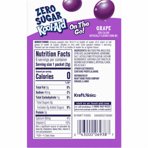Kool-Aid On-The-Go Sugar-Free Grape Powdered Drink Packets Perspective: back