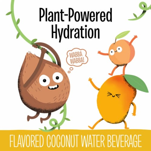 Creative Roots Peach Mango Flavored Coconut Water Kids Beverage Perspective: back