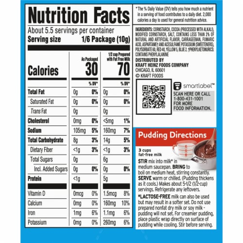 Jell-O Cook & Serve Sugar Free Fat Free Chocolate Pudding & Pie Filling Perspective: back