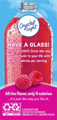 Crystal Light Raspberry Ice On-The-Go Drink Mix Packets Perspective: back