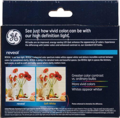 GE Reveal® HD+ Light 4.5-Watt (40-Watt) G25 LED Light Bulbs Perspective: back