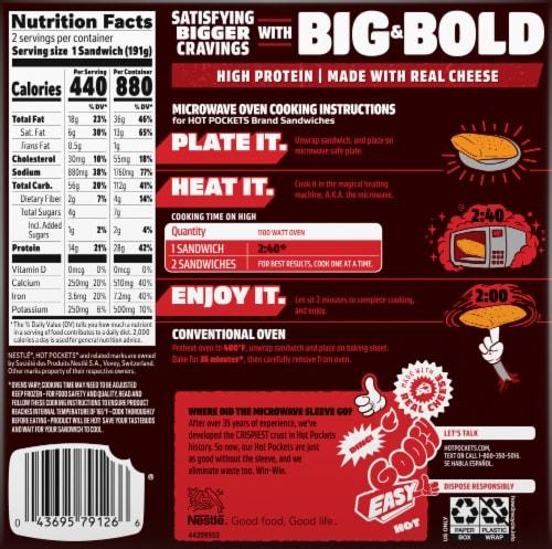 Hot Pockets Frozen Snack Big & Bold Sriracha Steak Frozen Sandwich Perspective: back