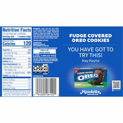 Oreo Fudge Covered Dark Chocolate Sandwich Cookies Perspective: back