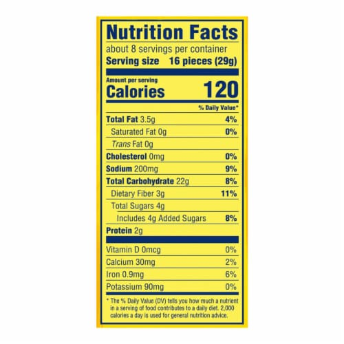 Nabisco Wheat Thins Reduced Fat Crackers Perspective: back