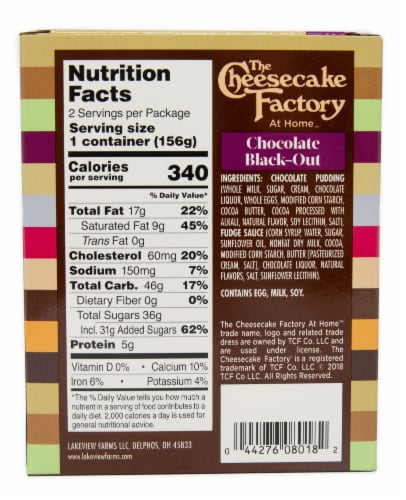 The Cheesecake Factory Chocolate Black-Out Dessert Perspective: back