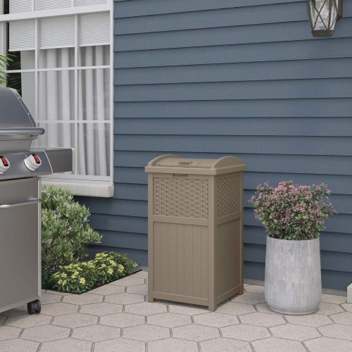 Suncast Wicker Resin Outdoor Hideaway Trash Can with Latching Lid, Dark Taupe Perspective: back