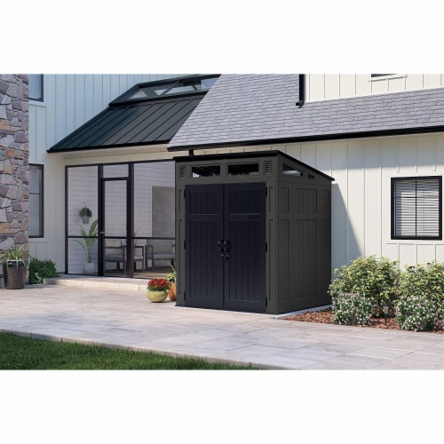 Suncast Modernist 6 x 5 Foot Outdoor Storage Shed, 200 Cubic Feet, Peppercorn Perspective: back