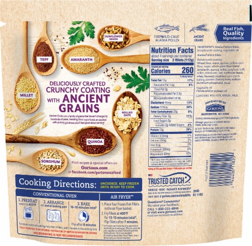 Gorton's® Ancient Grains Crusted Fish Fillets Perspective: back