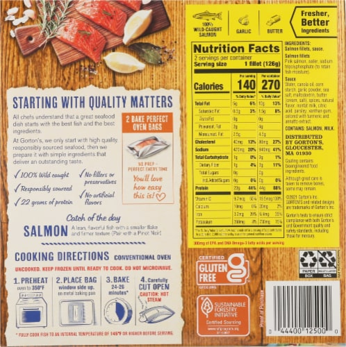 Gorton's Simply Bake Roasted Garlic & Butter Salmon Fillets Perspective: back