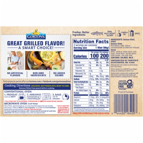Gorton's Natural Catch Classic Style Grilled Salmon Fillets Perspective: back