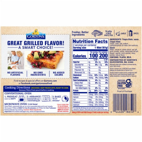 Gorton's Signature Grilled Roasted Garlic & Butter Tilapia Fillets Perspective: back