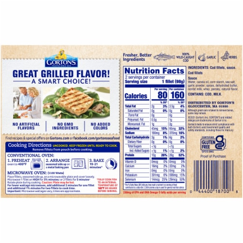 Gorton's Natural Catch Roasted Garlic & Herb Grilled Cod Fillets Perspective: back