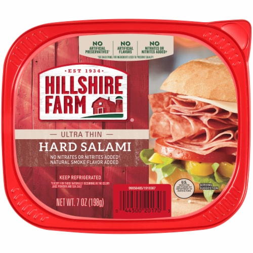 Hillshire Farm Ultra Thin Uncured Hard Salami Lunch Meat Perspective: back