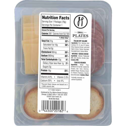 Hillshire Snacking Small Plates Italian Dry Salame and Gouda Cheese Perspective: back