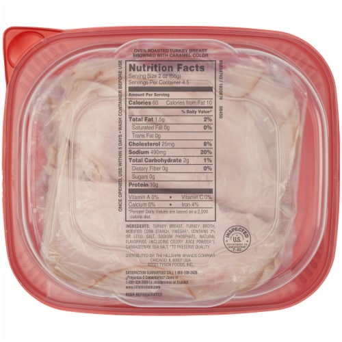 Hillshire Farm® Ultra Thin Sliced Oven Roasted Turkey Breast Lunch Meat Perspective: back