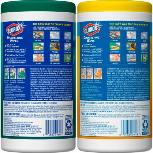 Clorox Crisp Lemon & Fresh Scent Disinfecting Wipes Twin Pack Perspective: back