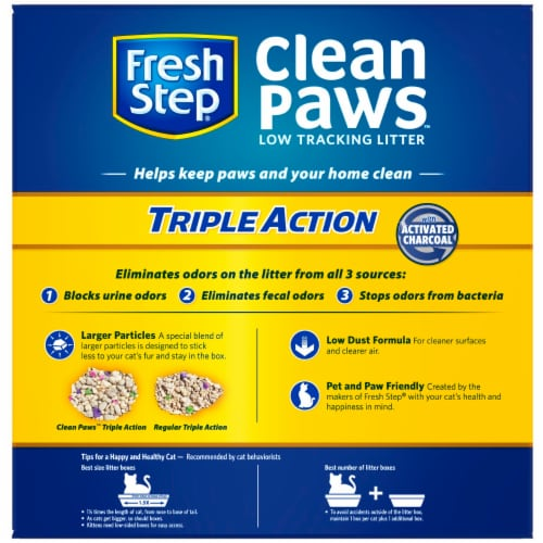 Fresh Step Clean Paws Triple Action Low Tracking Clumping Cat Litter Perspective: back