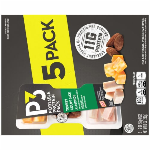 P3 Smoked Turkey Colby Jack Cheese and Almonds Snack Packs Perspective: back