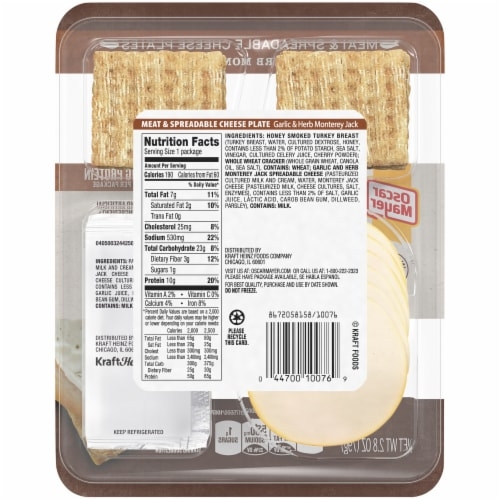 Oscar Mayer Natural Honey Smoked Turkey Breast Meat & Spreadable Cheese Perspective: back