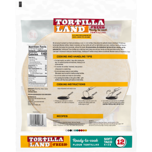 Tortilla Land Fresh Uncooked Soft Taco Size Flour Tortillas Perspective: back