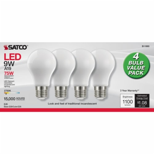 Satco Nuvo 75W Equivalent Warm White A19 Medium Frosted LED Light Bulb (4-Pack) Perspective: back