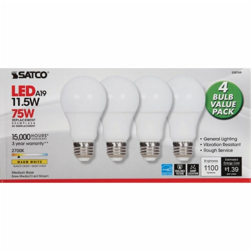 Satco 75W Equivalent Warm White A19 Medium LED Light Bulb (4-Pack) S28769 Perspective: back