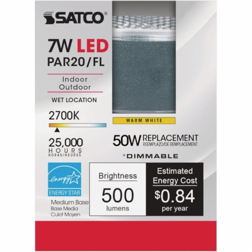 Satco 50W Equivalent Soft White PAR20 Medium Dimmable LED Floodlight Light Bulb Perspective: back