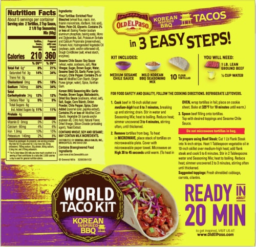Old El Paso Korean Inspired BBQ World Taco Dinner Kit Perspective: back