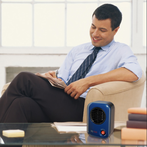 Lasko 102 MyHeat Portable Personal Electric 200W Ceramic Space Heater, Blue Perspective: back