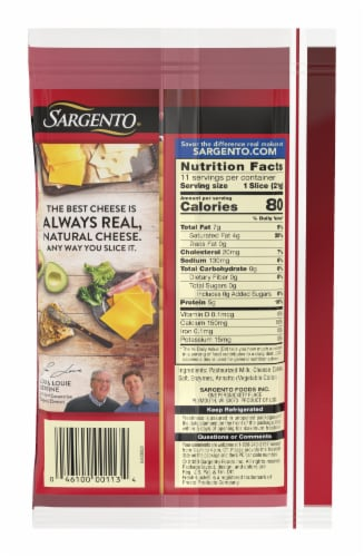 Sargento Natural Sharp Cheddar Cheese Slices Perspective: back