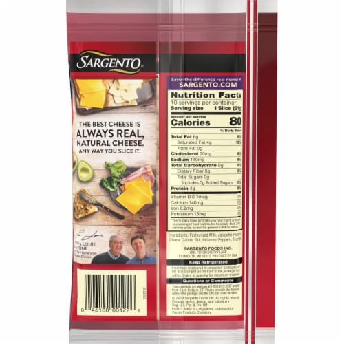 Sargento Natural Pepper Jack Cheese Slices Perspective: back