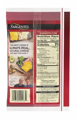Sargento Natural Aged Swiss Cheese Slices 11 Count Perspective: back