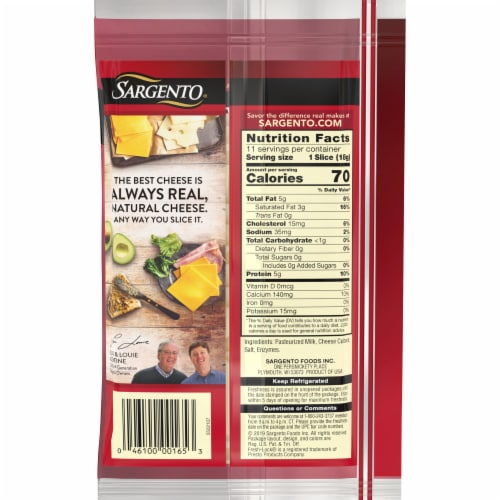 Sargento® Natural Swiss Cheese Slices Perspective: back