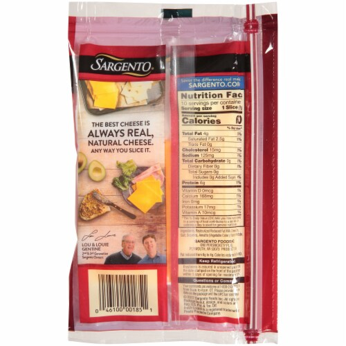 Sargento Reduced Fat Sliced Medium Cheddar Cheese Perspective: back