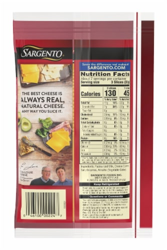 Sargento Ultra Thin Mild Cheddar Cheese Slices 20 Count Perspective: back