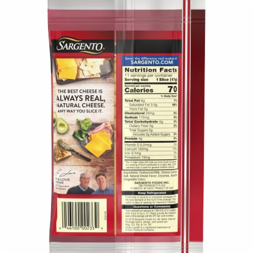 Sargento Natural Smokehouse Cheddar Cheese Slices Perspective: back