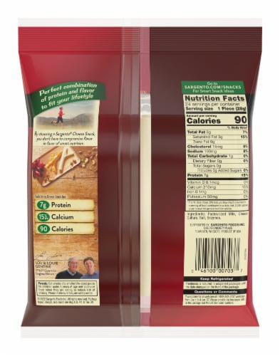 Sargento String Cheese Perspective: back