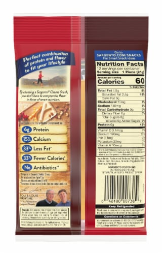 Sargento Reduced Fat Sharp Cheddar Cheese Sticks Perspective: back