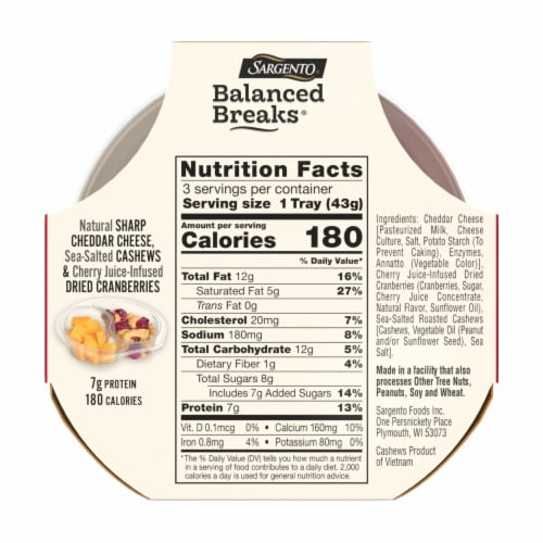 Sargento Balanced Breaks Sharp Cheddar Cashews & Dried Cranberries Perspective: back